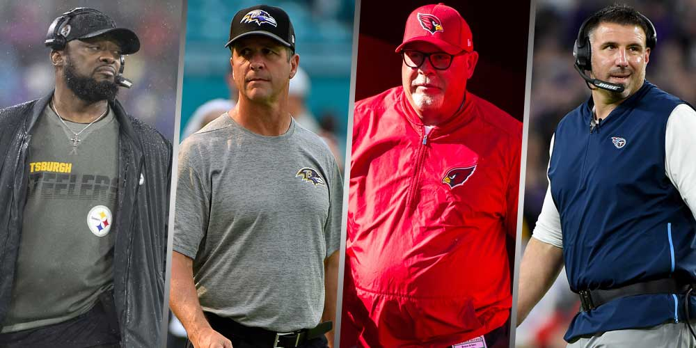 Mike Tomlin, Pittsburgh Steelers, John Harbaugh, Baltimore Ravens, Bruce Arians, Tampa Bay Buccaneers, Mike Vrabel, Tennessee Titans